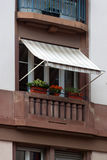 Balcony with awnings. Facades in Strasbourg Royalty Free Stock Image