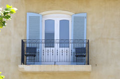Balcony with balustrade and louvre doors Royalty Free Stock Photography
