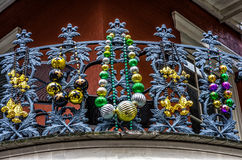 Balcony with Beads. 4-15-2012 New Orleans - Balcony with Mardi Gras Beads on railing bannister in the French Quarter