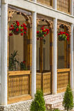 Balcony. Beautiful balcony with flower in monastery ramet Royalty Free Stock Image