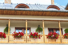 Balcony. Beautiful balcony with flower in monastery ramet Stock Photo