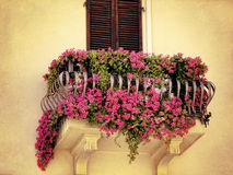 Balcony with beautiful pink flowers Royalty Free Stock Photos