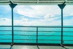 Balcony with beautiful sea or ocean view. Exterior of shop or boat stock image