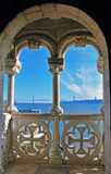 Balcony of Belem Tower. In Lisbon, Portugal Stock Photos