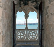 Balcony of Belem tower in Lisbon Royalty Free Stock Image