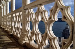 In the balcony of Belem Tower at sunset Royalty Free Stock Photo