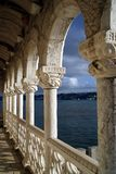 In the balcony of Belem Tower at sunset Stock Photo