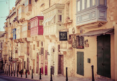 Balcony on the building - Valletta, Malta. VALLETTA, MALTA - JULY 17: Balconies on the building in Valletta on July 17, 2015 in Valletta Royalty Free Stock Photos