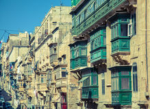 Balcony on the building - Valletta, Malta. VALLETTA, MALTA - JULY 17: Balconies on the building in Valletta on July 17, 2015 in Valletta Stock Photos