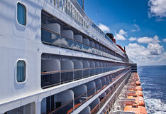Balcony cabins on a cruise ship at sea Royalty Free Stock Image