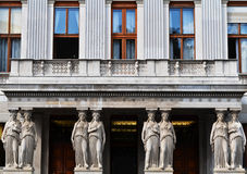 Balcony with caryatids in the Austrian Parliament Building in Vienna. Balcony with caryatids in the Austrian Parliament Building view from Rathausplatz in Vienna Stock Image