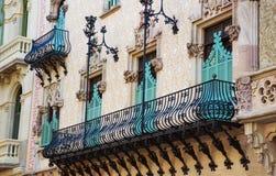 Balcony of Casa Amatller in Eixample district of Barcelona Stock Photos