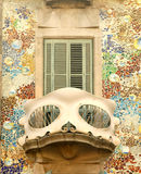 Balcony of Casa Batllo in Barcelona. Detail of Antoni Gaudi modernist building, Casa Batllo, in Barcelona royalty free stock photo