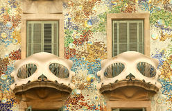 Balcony of Casa Batllo in Barcelona. Detail of Antoni Gaudi modernist building, Casa Batllo, in Barcelona stock photo
