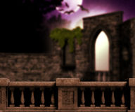 Balcony in the Castle at Night Royalty Free Stock Photos