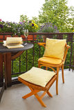 Balcony chair stool wine evening Royalty Free Stock Images