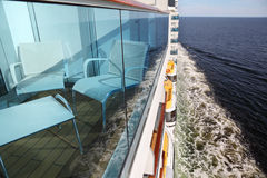 Balcony with chairs and table on cruise liner Royalty Free Stock Photos