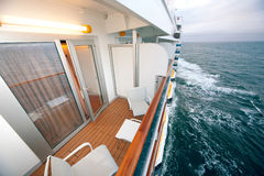Balcony with chairs table lamp on ship Royalty Free Stock Photography