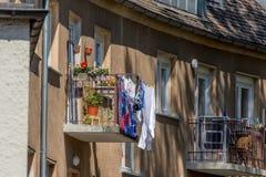 Balcony - clothes drying rack Stock Photos