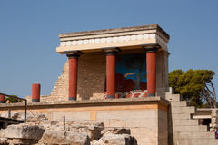 Balcony with a colonnade, relief fresco depicting bull Royalty Free Stock Image