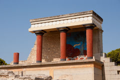 Balcony with a colonnade, relief fresco depicting bull Royalty Free Stock Photography