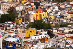 Balcony Colored Houses Church Guanajuato Mexico Stock Photos