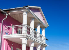 Balcony with columns. House of Culture, Russia Stock Photo