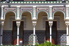 Balcony with columns, Seville, Spain. Moorish style balcony with columns, Seville, Spain Royalty Free Stock Photo