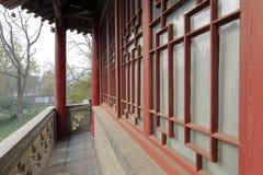 Balcony corridor of the baiyige pavilion in the famous jianfusi temple in winter, adobe rgb. Jianfu temple in xian city, shaanxi province, china. jianfu temple royalty free stock images