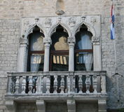Balcony And Croatian Flag Royalty Free Stock Image