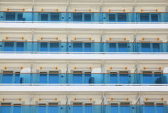Balcony on cruise ship. Exterior at rooms of multistory liner, balcony on cruise ship Royalty Free Stock Photo