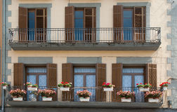Balcony decorated with flowers Stock Photography