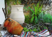 Ceramic pots , Terrace Decoration Royalty Free Stock Photography
