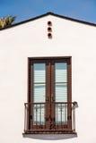 Balcony door. Double full lite door on fake balcony Stock Photography