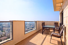 Balcony in downtown of modern city Stock Photo