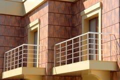 Balcony. Empty new modern balconies of executive apartments Royalty Free Stock Photography