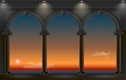 Night arch of the palace. Balcony of a fabulous palace in classical style with a view of the sea night landscape. Vector graphics Stock Photography