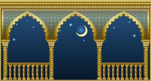 Balcony of the fairytale palace. Balcony of a fabulous palace in oriental style with a view of the night sky. Vector graphics Royalty Free Stock Photography