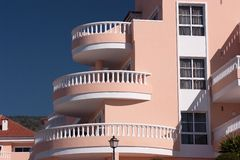 Balcony. Facade of a residential building with balcony stock photo