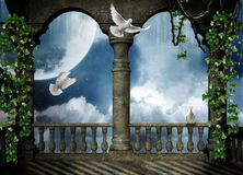 Balcony for the fantasy. Beautiful view of a balcony at night with doves flying Stock Image