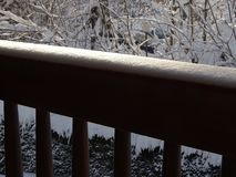 Balcony fence in winter. In the photo is balcony fence in winter royalty free stock photography