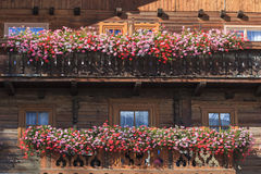 Balcony with flower boxes Stock Images
