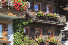 Balcony with flower boxes Royalty Free Stock Photos