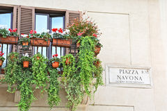 Balcony with flower pots in Piazza Navona, Rome. Balcony with many flower pots close to Piazza Navona sign, Rome Stock Image