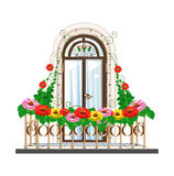 Balcony with flowers. Beautiful architecture Stock Photo