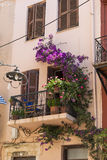 Balcony with flowers Chania Stock Images