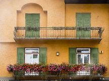 Balcony with flowers, Cortina dAmpezzo, Italy Stock Image