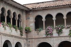Balcony with flowers in Cusco, Peru royalty free stock image