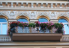 Balcony with flowers and facade of the building in classical styleBalcony with flowers and facade of the building Stock Photos