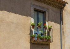 The Balcony. Balcony with flowers in Girona, Spain stock photos